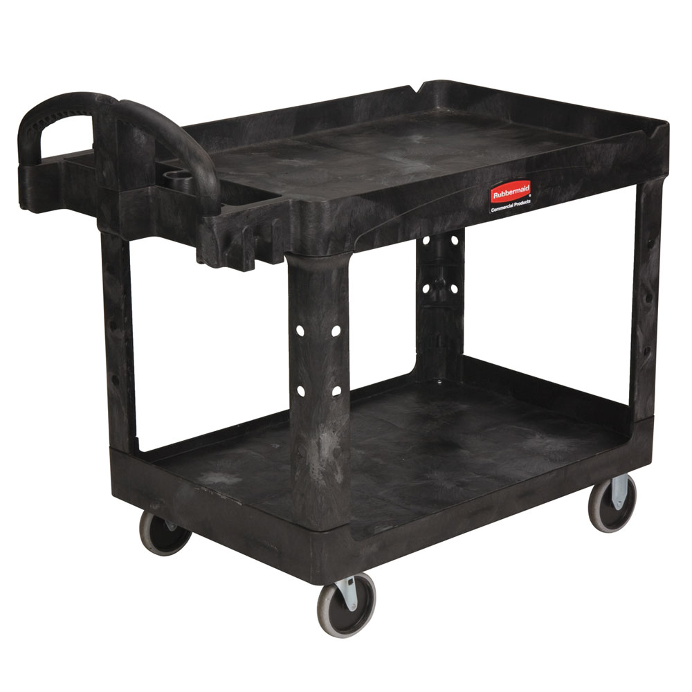 Rubbermaid FG452088BLA 2-Level Polymer Utility Cart w/ 500-lb Capacity, Raised Ledges