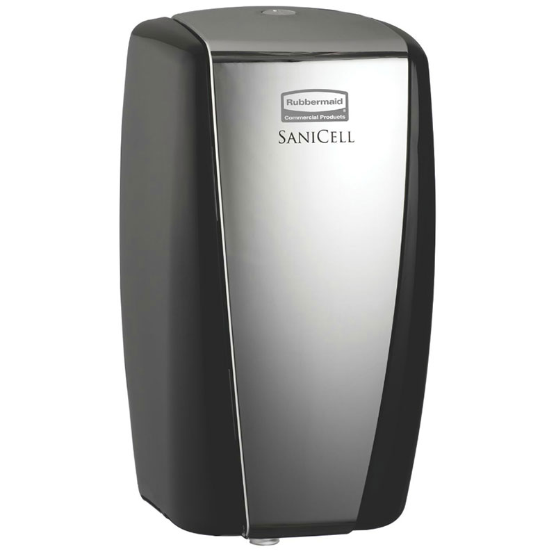 "Rubbermaid 4870488 SaniCell Wall Service Dispenser - 3x5-1/5x7-3/5"" Black/Chrome"