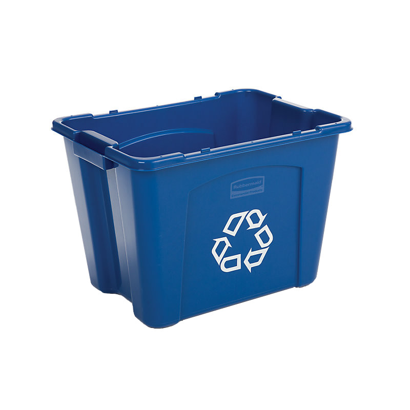 "Rubbermaid FG571473BLUE 14-gal Recycling Box - 20-3/4x16x14-3/4"" Blue"
