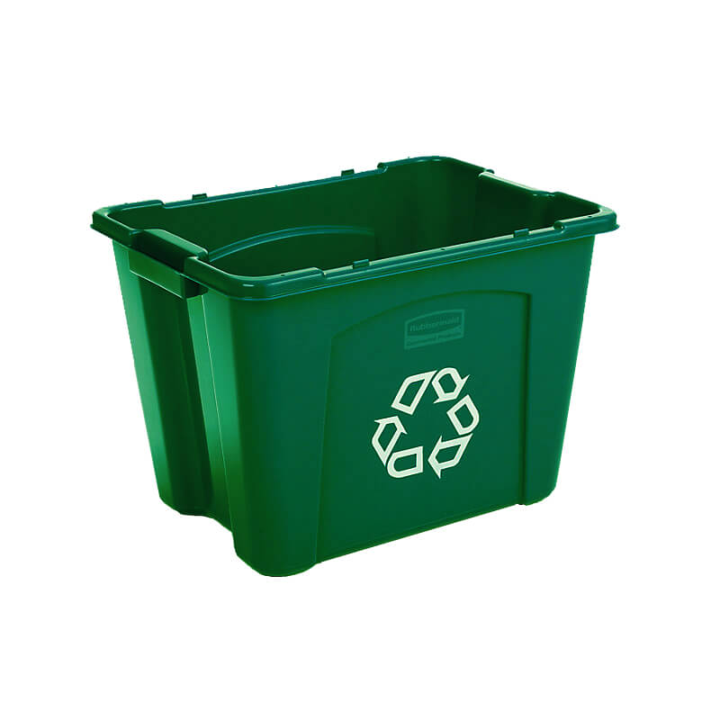 "Rubbermaid FG571473GRN 14-gal Recycling Box - 20-3/4x16x14-3/4"" Green"