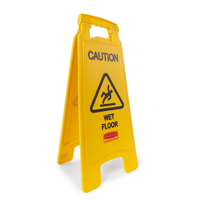 "Rubbermaid FG611277YEL 2-Sided Floor Sign - ""Caution Wet Floor"" Yellow"