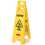 "Rubbermaid FG611477YEL 4-Sided Floor Sign - ""Caution Wet Floor"" Yellow"