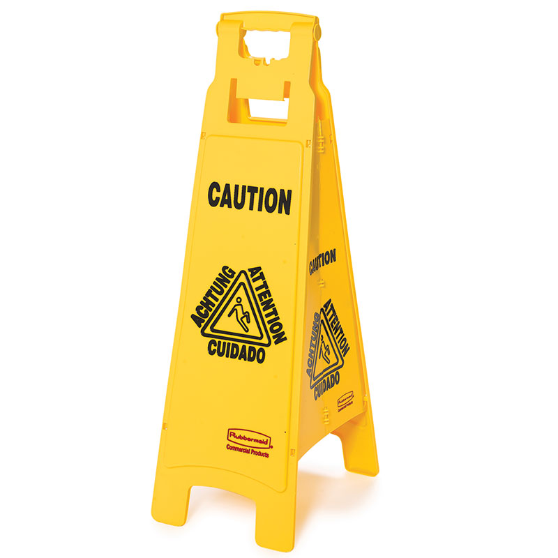 Rubbermaid fg611400yel 4 sided floor sign caution for Floor banner