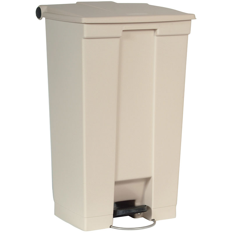 "Rubbermaid FG614600BEIG 23-gal Rectangle Plastic Step Trash Can, 19.75""L x 16-1/8""W x 32.5""H, Beige"