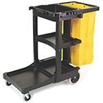 "Rubbermaid FG617388BLA Housekeeping Cart w/ 3-shelves, 46""L x 21.75""W x 38.375""H, Black"