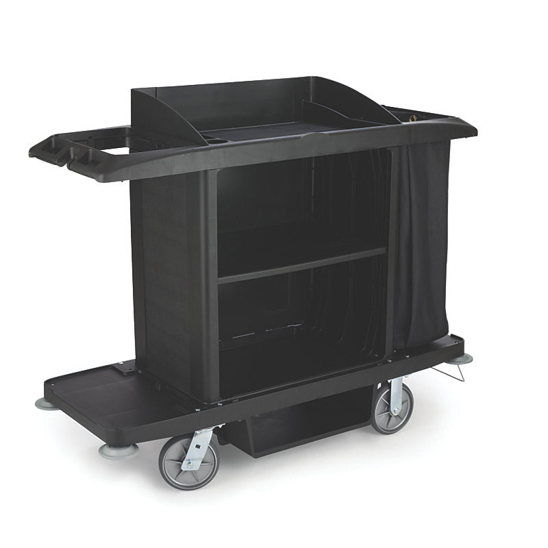 "Rubbermaid FG618900BLA Xtra Housekeeping Cart - 60x22x50"" Black"