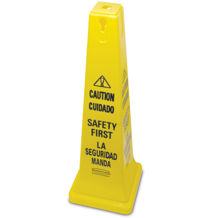 """Rubbermaid FG627687YEL Safety Cone - """"Caution, Safety First"""" Multi-Lingual"""