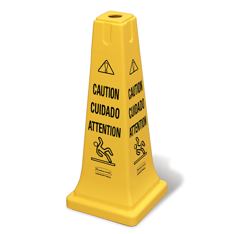 "Rubbermaid FG627700YEL Safety Cone - ""Caution"" Multi-Lingual, Yellow"