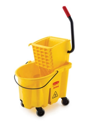Rubbermaid FG748018YEL WaveBrake Specialty Mopping Combo, 26 qt Bucket & Side Press Wringer, Yellow