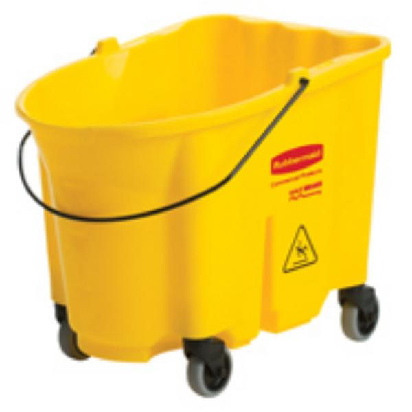 Rubbermaid FG757088YEL WaveBrake Bucket w/Caster Kit 35 qt Stackable Restaurant Supply