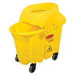 Rubbermaid FG759088YEL 35-qt WaveBrake Institutional Mopping Combo - Funnel-Shaped Wringer, Yellow