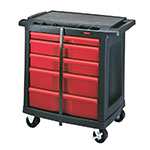 Rubbermaid FG773488BLA Mobile Work Center - 5-Drawer, 250-lb Capacity, Black