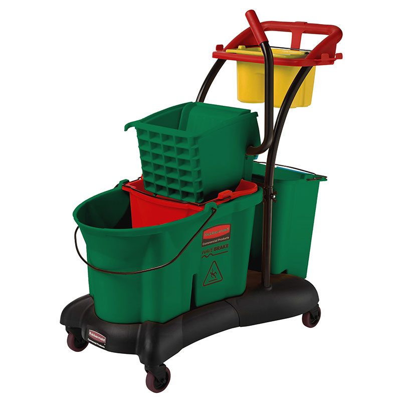 Rubbermaid FG777700GRN 35-qt WaveBrake Mopping Trolley - Down Press, Green