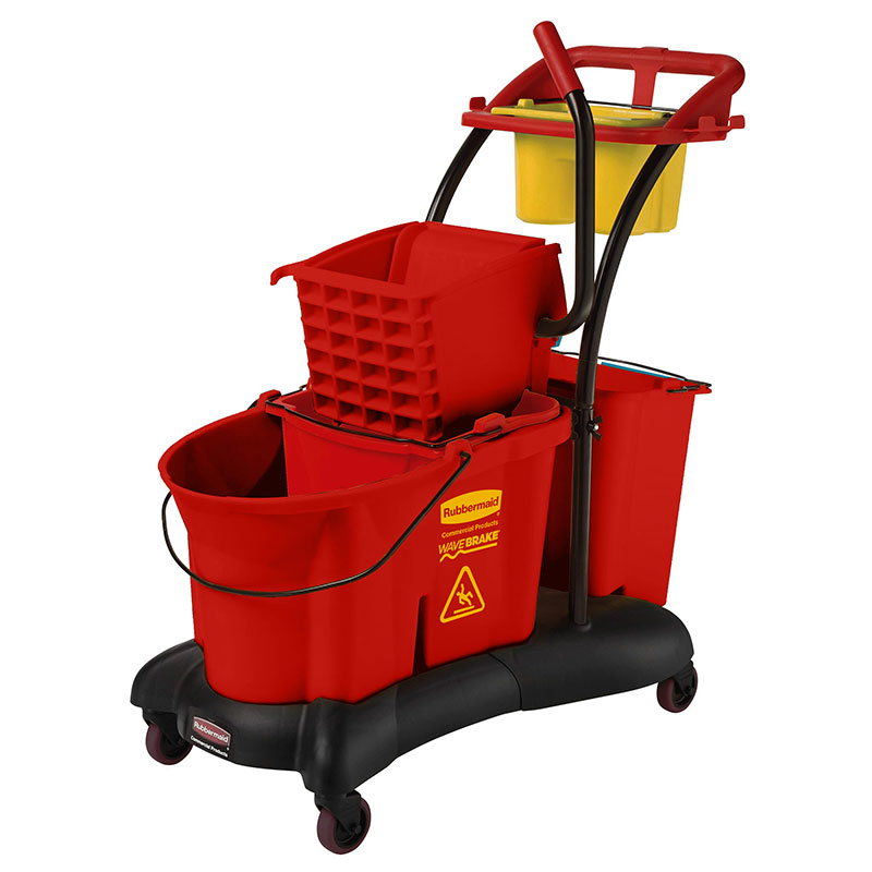 Rubbermaid FG777700RED 35-qt WaveBrake Mopping Trolley - Down Press, Red