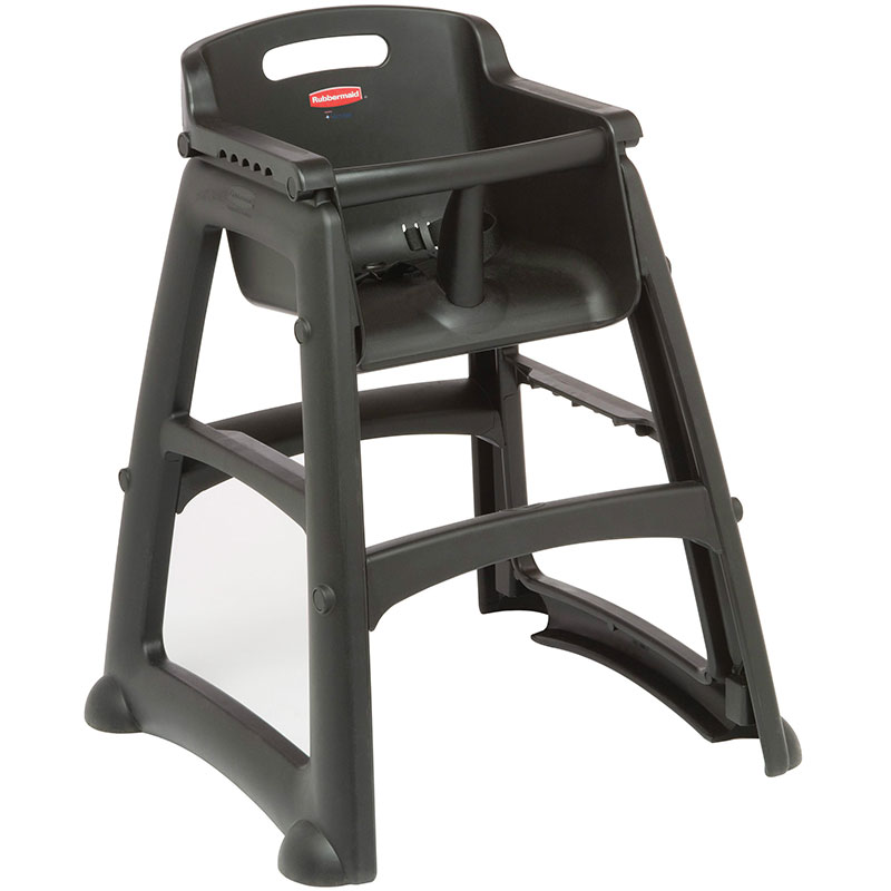 "Rubbermaid FG781408BLA 29.75"" Stackable High Chair w/ Waist Strap - Plastic, Black"