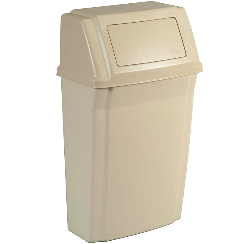 "Rubbermaid FG782200BEIG 15-gal Rectangle Slim Trash Can, 19.5""L x 11.87""W x 32.63""H, Beige"