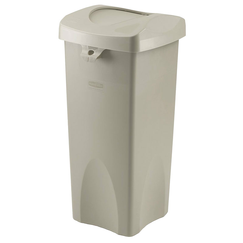Rubbermaid FG792020BEIG 23-gal Untouchable Square Container with Swing Lid - Beige