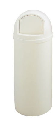 Rubbermaid FG817088OWHT 25-gal Marshall Classic Container - Off-White