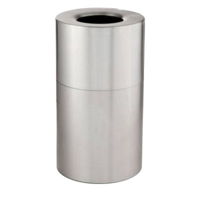 Rubbermaid FG907900HSILV 35-gal Atrium Container - Fire-Safe, Hammered Silver