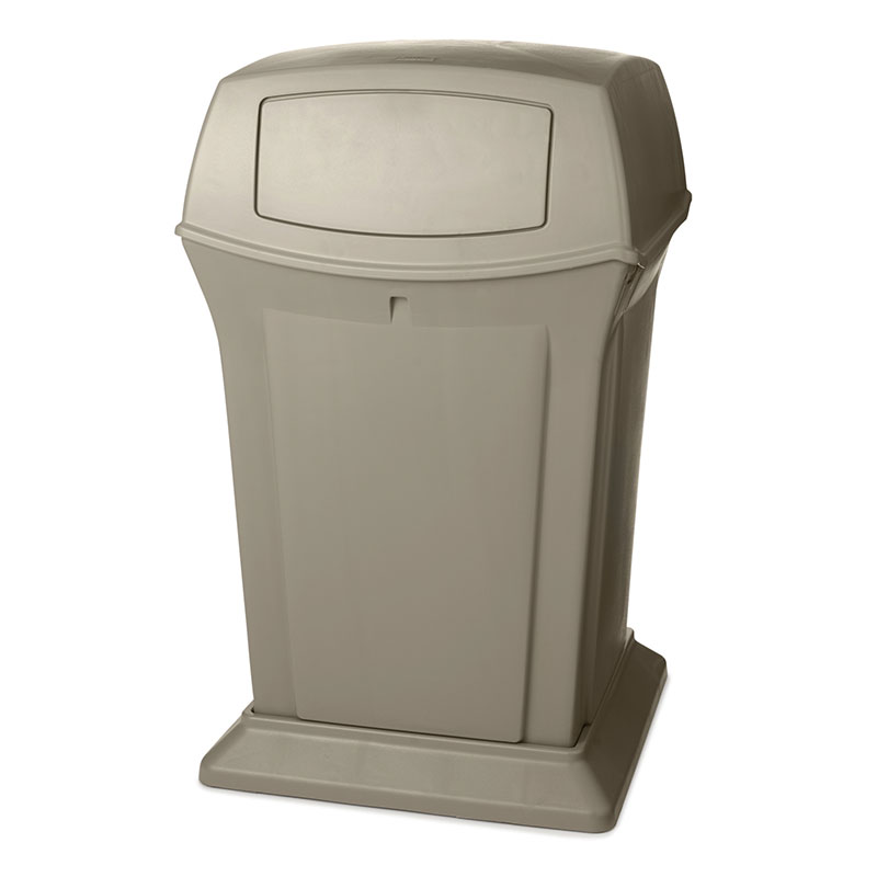 Rubbermaid FG917188BEIG 45-gal Ranger Container - Dome Top, 2 Access Openings, Beige