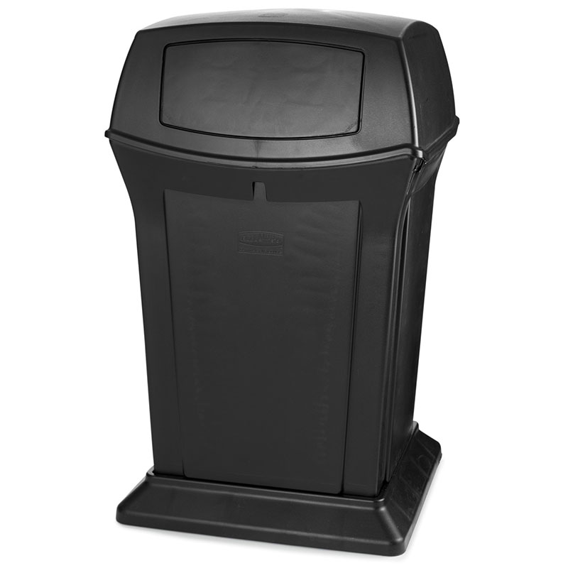 Rubbermaid FG917188BLA 45-gal Outdoor Decorative Trash Can - Plastic, Black