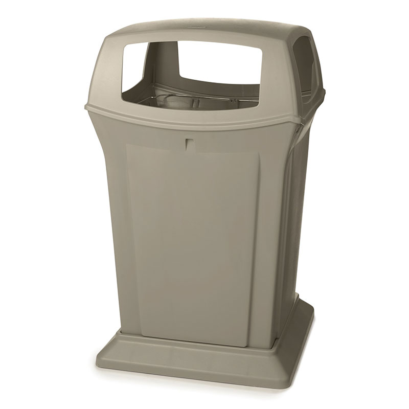 Rubbermaid FG917388BEIG 45-gal Ranger Container - Dome Top, 4 Access Openings, Beige