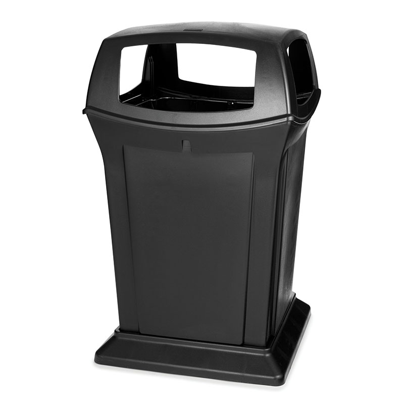 Rubbermaid FG917388BLA 45-gal Outdoor Decorative Trash Can - Plastic, Black