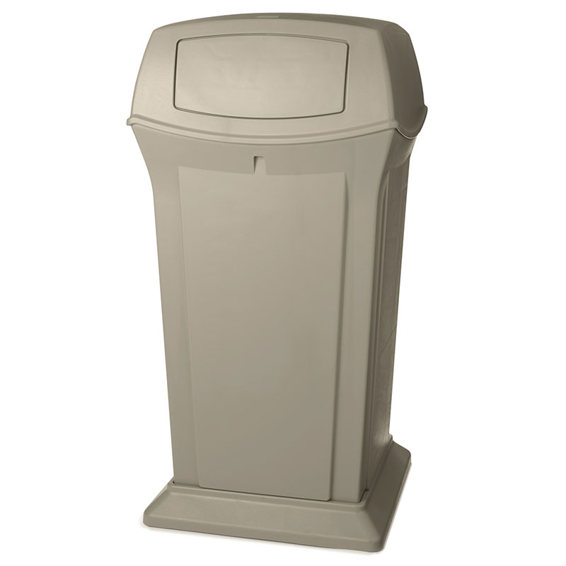 Rubbermaid FG917500BEIG 65-gal Outdoor Decorative Trash Can - Plastic, Beige