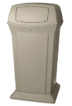 Rubbermaid FG917500BEIG 65-gal Ranger Container - Dome Top, 2 Access Openings, Beige