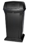 Rubbermaid FG917500BLA 65-gal Ranger Container - Dome Top, 2 Access Openings, Black
