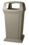 Rubbermaid FG917600BEIG 65-gal Ranger Container - Dome Top, 4 Access Openings, Beige