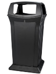 Rubbermaid FG917600BLA 65-gal Ranger Container - Dome Top, 4 Access Openings, Black