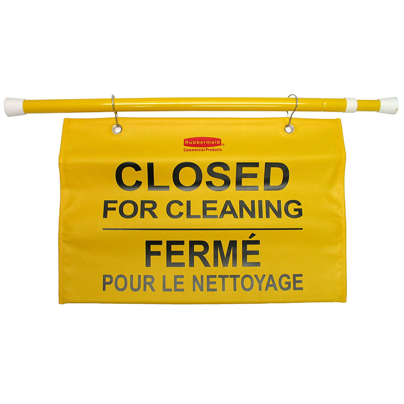 "Rubbermaid FG9S1600YEL Site Safety Hanging Sign - Multi-Lingual ""Closed for Cleaning"