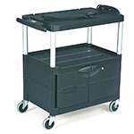 Rubbermaid FG9T2900BLA Media Master Audio-Visual Cart - 150-lb Capacity, 3-Shelf, Cabinet, Black