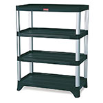 "Rubbermaid FG9T3600BLA 45-7/8"" Xtra Shelving Unit - (4) Polymer Shelves, 800-lb Capacity, Black"