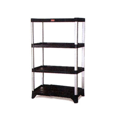 "Rubbermaid FG9T3800BLA 71-3/8"" Xtra Shelving Unit - (4) Polymer Shelves, 800-lb Capacity, Black"