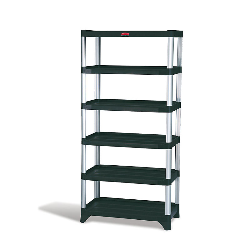 "Rubbermaid FG9T4000BLA 72-3/4"" Xtra Shelving Unit - (6) Polymer Shelves, 800-lb Capacity, Black"