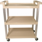 "Rubbermaid FG9T6571 BEIG 3-Shelf Utility Cart - 100-lb Capacity, Open Base, 3"" Swivel Castors, Beige"