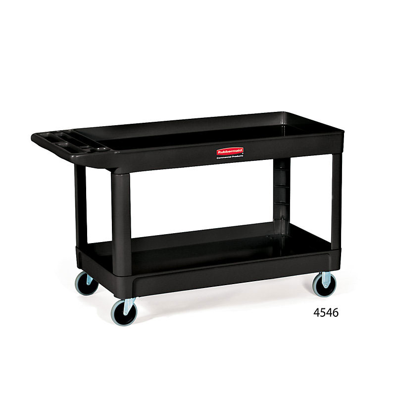 Rubbermaid FG9T6700BLA 2-Level Polymer Utility Cart w/ 500-lb Capacity, Raised Ledges