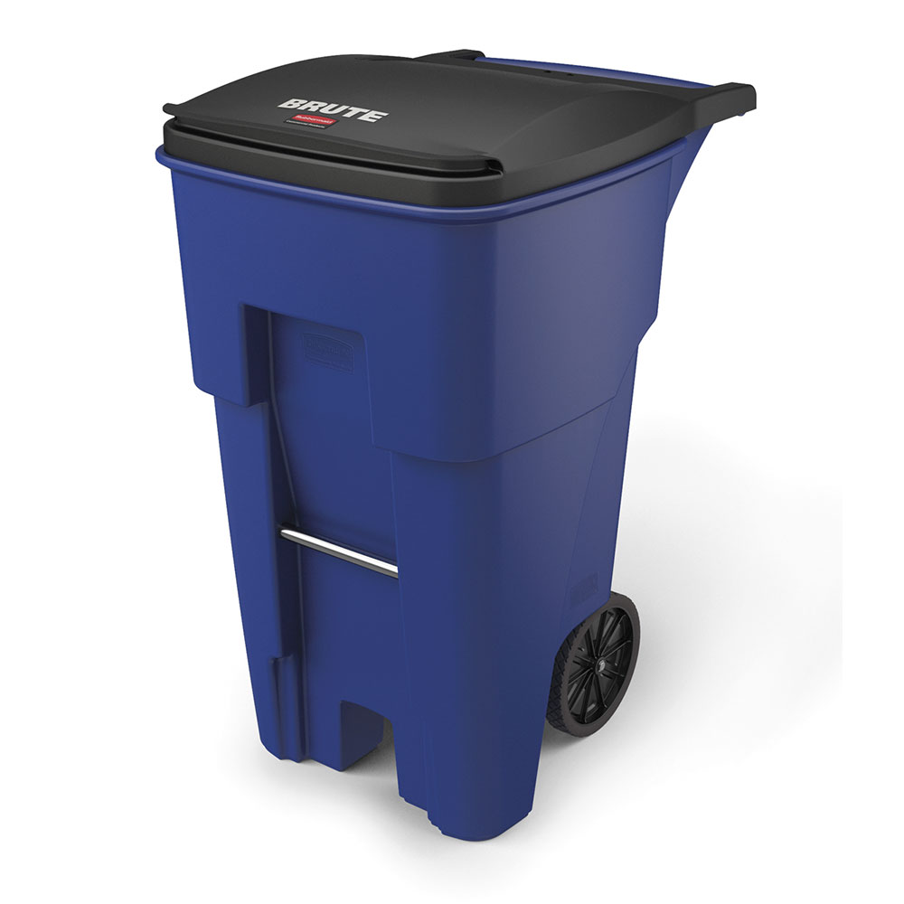 "Rubbermaid FG9W2173BLUE 65-gal Utility Wheeled Trash Can - 41.8-H x 25.3-W x 32.3""-L, Blue"