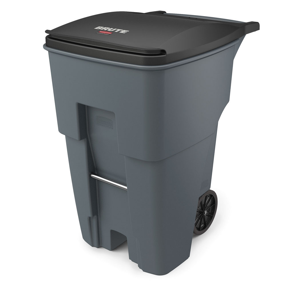 "Rubbermaid FG9W2200GRAY 95-gal Utility Wheeled Trash Can - 45.6-H x 27.3-W x 35.4""-L, Gray"