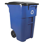 Rubbermaid FG9W2773BLUE 50-gal Multiple Material Recycle Bin - Indoor/Outdoor, Wheels