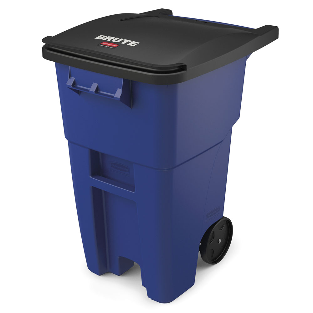 Rubbermaid FG9W2700BLUE 50-gal Multiple Material Recycle Bin - Indoor/Outdoor, Wheels