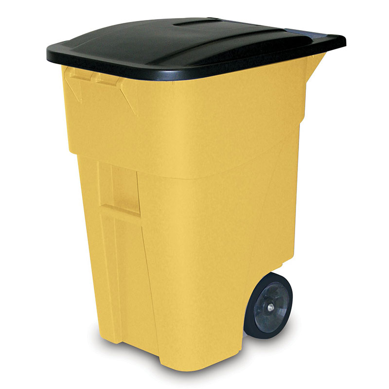 Rubbermaid FG9W2700YEL 50-gal Multiple Material Recycle Bin - Indoor/Outdoor, Wheels