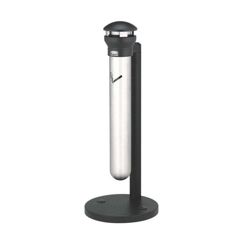 Rubbermaid FG9W3100SSBLA Pole Cigarette Receptacle w/ (1200) Butt Capacity - Domed Top
