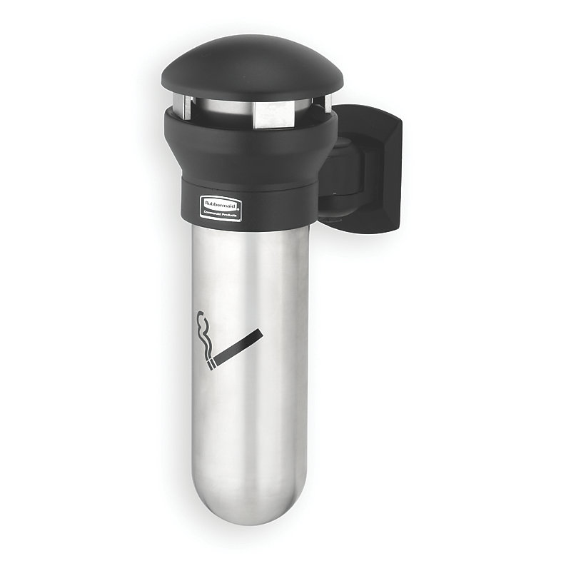 Rubbermaid FG9W3200SSBLA Infinity Smoking Receptacle - Wall Mount, Stainless/Black