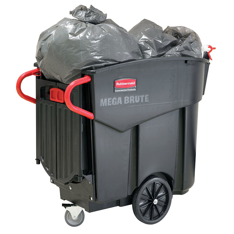 Rubbermaid FG9W7100BLA .6-cu yd Trash Cart w/ 400-lb Capacity, Black