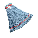 "Rubbermaid FGA11306BL00 Web Foot Wet Mop - Looped-End, 1"" Headband, Cotton/Synthetic, Blue"