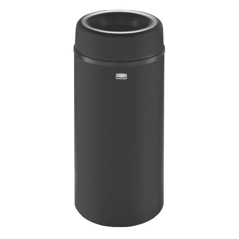 Rubbermaid FGAOT15BKPL 15-gal Indoor Decorative Trash Can - Metal, Black