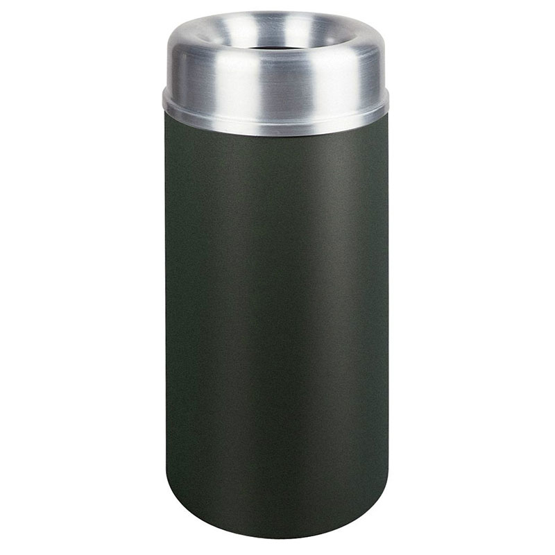 Rubbermaid FGAOT15SABKPL 15-gal Indoor Decorative Trash Can - Metal, Black/Aluminum